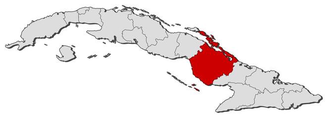 Map of Cuba, Camagüey highlighted