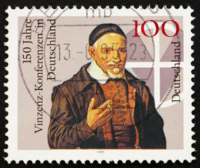 Postage stamp Germany 1995 Pastor and Cross
