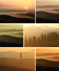 collage with scenic tuscan landscape at sunrise and sunset