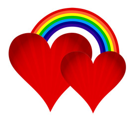 hearts with rainbow illustration design on white background