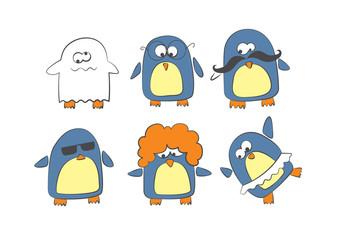 Sketch penguins set