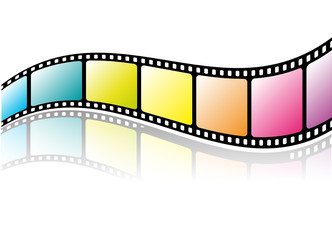 Colorful film strip with reflection