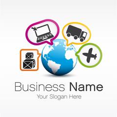 logo planète et icône internet