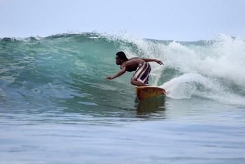 Surfer in ocean