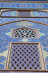 Tiled oriental ornaments mosque's wall , Esfahan, Iran