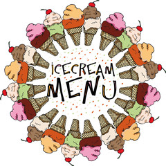 Ice Cream Sketch, Vector Illustration