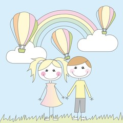 Deurstickers Regenboog girl and boy cartoons
