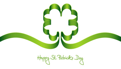 """Green Clover-Leaf """"Happy St. Patrick´s Day"""""""