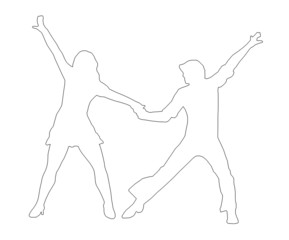Outline Dancing Couple 70s