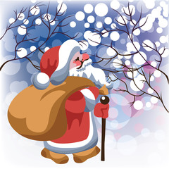 Santa Claus with gifts in snow forest. Vector illustration.