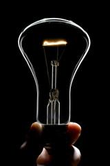 A light bulb silhouette in black