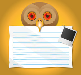 Paper hold in the Owl mouth.
