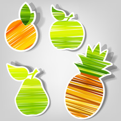set of vector stickers. fresh fruit