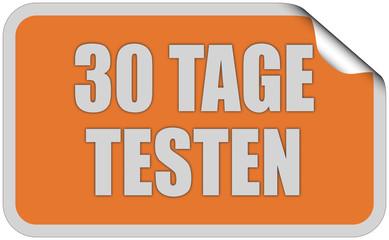 Sticker orange eckig curl oben 30 TAGE TESTEN