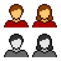 Poster Pixel vector pixel male female avatar icons