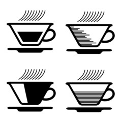 vector black tea cup pictograms