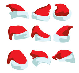 A set of nine hats for Santa