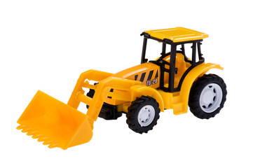 excavator toy on white