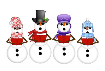 Snowman Carolers Singing Christmas Songs Illustration