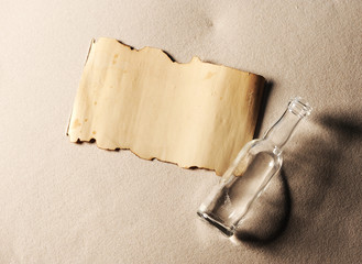 message in a bottle. The paper is blank to put whatever message