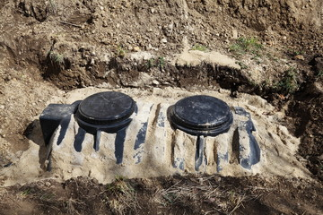 New Residential Septic Tank Installation With Copyspace.