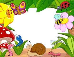 Insects family with snail