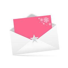 envelope letter and pink paper merry Christmas