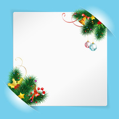 Christmas Frame with Sheet of white Paper Mounted in Pockets