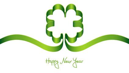 "Green Cloverleaf ""Happy New Year"""
