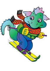 Photo sur Plexiglas Dinosaurs Baby dragon-skier.