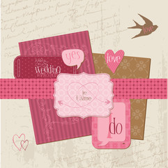Vintage Wedding Design Elements - for Scrapbook, Invitation in v