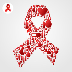 Red Ribbon symbol with AIDS icons