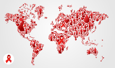 Globe World map with AIDS icons