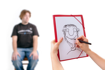 Human Hand drawing caricature of man