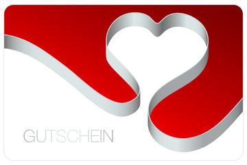Gutschein Schleife Herz silber/rot