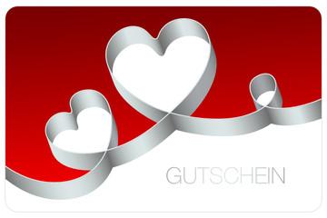 Gutschein Schleife 2 Herzen & Kringel silber/rot
