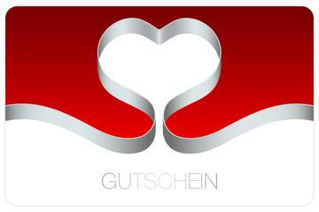Gutschein Schleife Herz Bogen silber/rot
