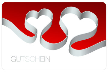 Gutschein Schleife 2 Herzen silber/rot