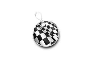 Silver Tag Marked With  A Chequered Flag