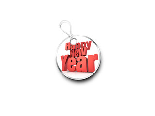 Silver Tag Marked With  A Red Happy New Year