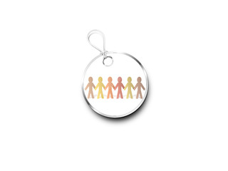 Silver Tag Marked With  Paper Chain People In Brown