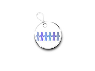 Silver Tag Marked With  Paper Chain People In Blue