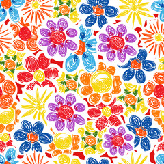 Abstract decorative flowers seamless background