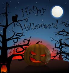 Celebration poster of smoking pumpkin in a dark forest