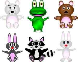 Cute wild animal cartoon set
