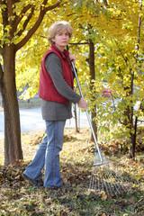 Autumn, Caucasian woman raking leaves