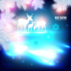Blue beautiful Christmas background with reindeer.