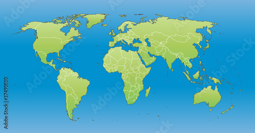 World Map 2012 Including New States Like South Sudan Stock Image