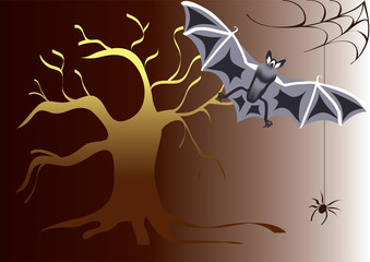 Halloween, tree, bat and spider