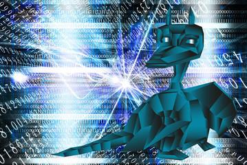 Dark blue fantastic dragon-symbol 2012 New Years.